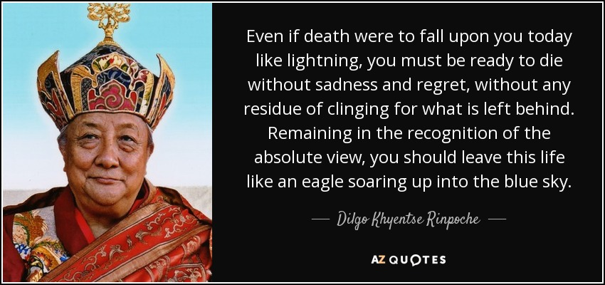 Even if death were to fall upon you today like lightning, you must be ready to die without sadness and regret, without any residue of clinging for what is left behind. Remaining in the recognition of the absolute view, you should leave this life like an eagle soaring up into the blue sky. - Dilgo Khyentse Rinpoche