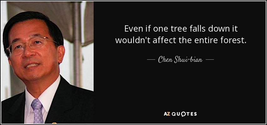 Even if one tree falls down it wouldn't affect the entire forest. - Chen Shui-bian