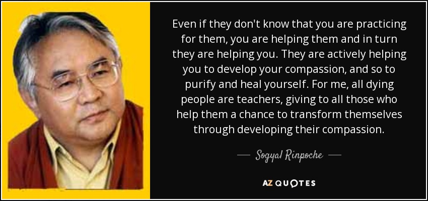 Even if they don't know that you are practicing for them, you are helping them and in turn they are helping you. They are actively helping you to develop your compassion, and so to purify and heal yourself. For me, all dying people are teachers, giving to all those who help them a chance to transform themselves through developing their compassion. - Sogyal Rinpoche