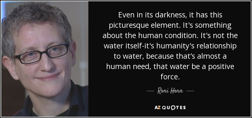 Even in its darkness, it has this picturesque element. It's something about the human condition. It's not the water itself-it's humanity's relationship to water, because that's almost a human need, that water be a positive force. - Roni Horn