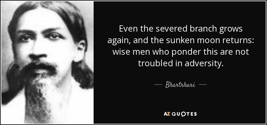 Even the severed branch grows again, and the sunken moon returns: wise men who ponder this are not troubled in adversity. - Bhartrhari