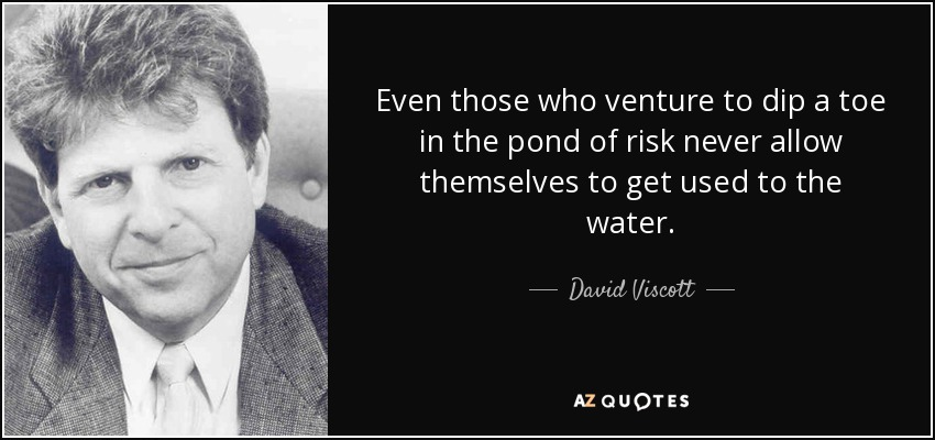 Even those who venture to dip a toe in the pond of risk never allow themselves to get used to the water. - David Viscott