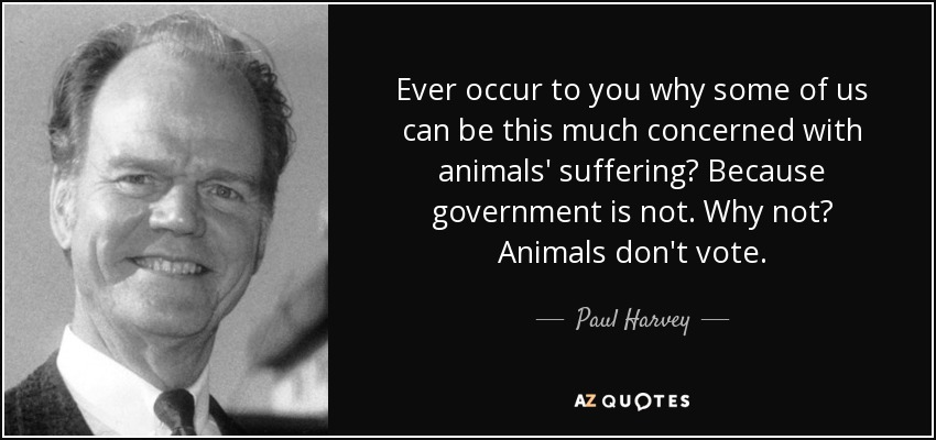 Ever occur to you why some of us can be this much concerned with animals' suffering? Because government is not. Why not? Animals don't vote. - Paul Harvey