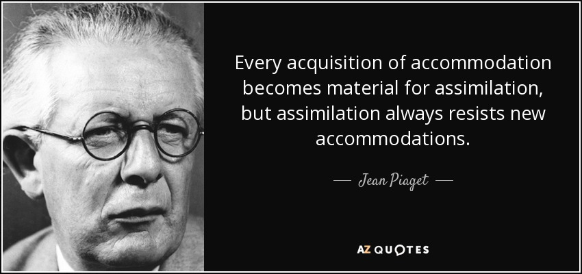 Every acquisition of accommodation becomes material for assimilation, but assimilation always resists new accommodations. - Jean Piaget
