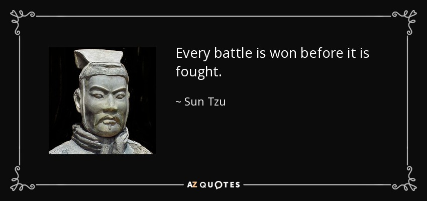 Every battle is won before it is fought. - Sun Tzu