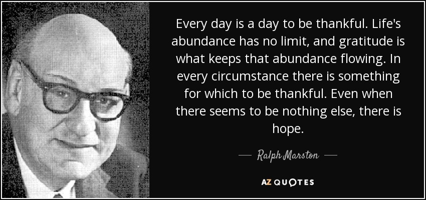 Every day is a day to be thankful. Life's abundance has no limit, and gratitude is what keeps that abundance flowing. In every circumstance there is something for which to be thankful. Even when there seems to be nothing else, there is hope. - Ralph Marston