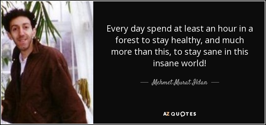 Every day spend at least an hour in a forest to stay healthy, and much more than this, to stay sane in this insane world! - Mehmet Murat Ildan