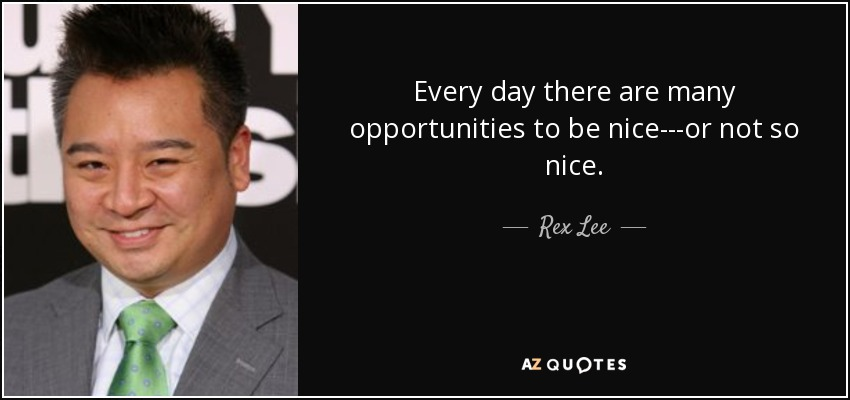 Every day there are many opportunities to be nice---or not so nice. - Rex Lee