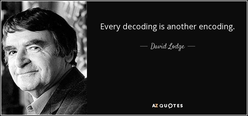Every decoding is another encoding. - David Lodge