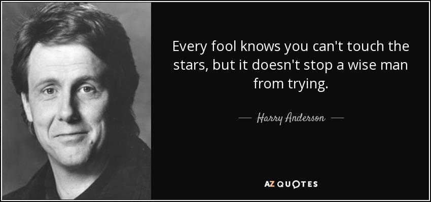 Every fool knows you can't touch the stars, but it doesn't stop a wise man from trying. - Harry Anderson