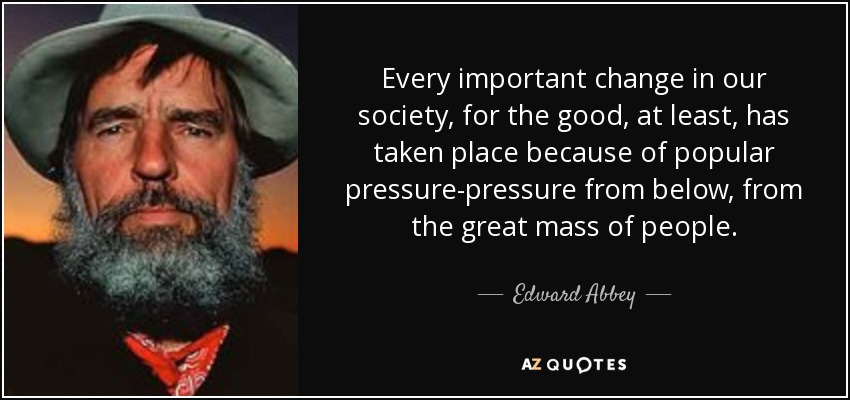 Every important change in our society, for the good, at least, has taken place because of popular pressure-pressure from below, from the great mass of people. - Edward Abbey
