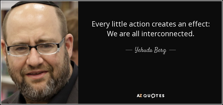 Every little action creates an effect: We are all interconnected. - Yehuda Berg