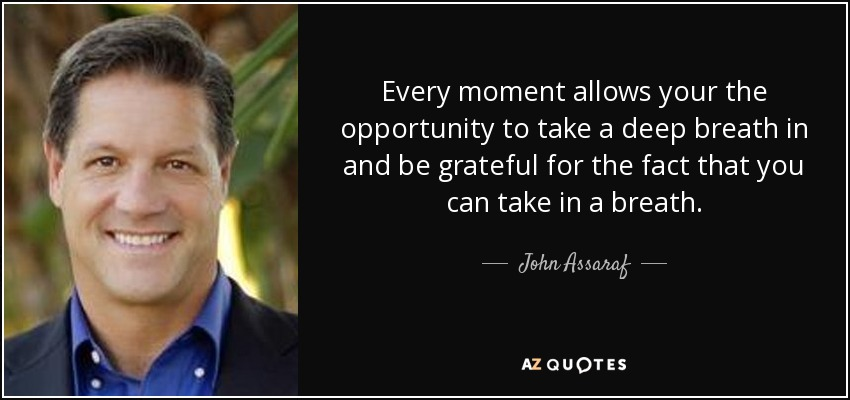 Every moment allows your the opportunity to take a deep breath in and be grateful for the fact that you can take in a breath. - John Assaraf