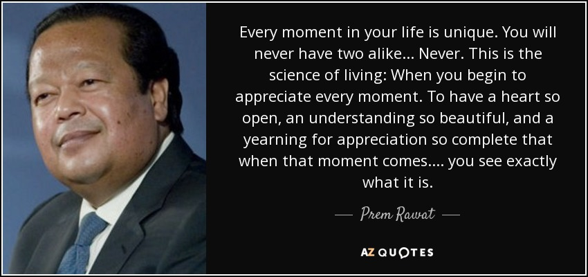 Every moment in your life is unique. You will never have two alike... Never. This is the science of living: When you begin to appreciate every moment. To have a heart so open, an understanding so beautiful, and a yearning for appreciation so complete that when that moment comes.... you see exactly what it is. - Prem Rawat