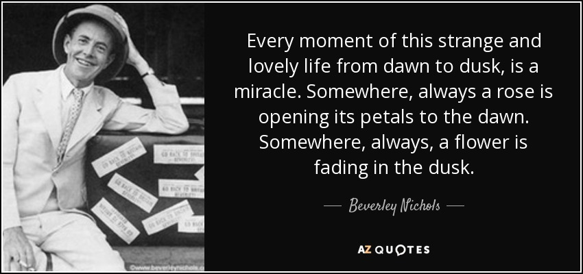Every moment of this strange and lovely life from dawn to dusk, is a miracle. Somewhere, always a rose is opening its petals to the dawn. Somewhere, always, a flower is fading in the dusk. - Beverley Nichols