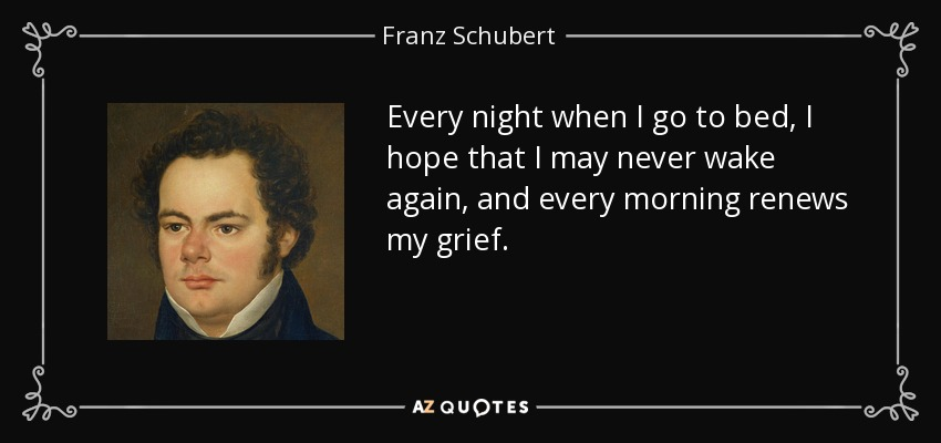 Every night when I go to bed, I hope that I may never wake again, and every morning renews my grief. - Franz Schubert