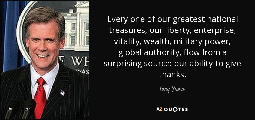Every one of our greatest national treasures, our liberty, enterprise, vitality, wealth, military power, global authority, flow from a surprising source: our ability to give thanks. - Tony Snow