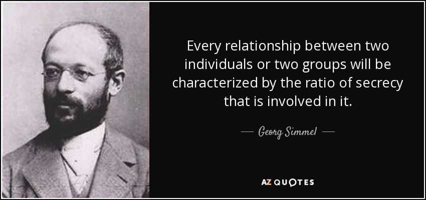 Every relationship between two individuals or two groups will be characterized by the ratio of secrecy that is involved in it. - Georg Simmel