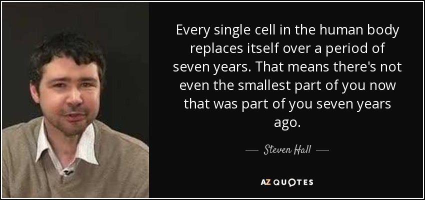 Every single cell in the human body replaces itself over a period of seven years. That means there's not even the smallest part of you now that was part of you seven years ago. - Steven Hall