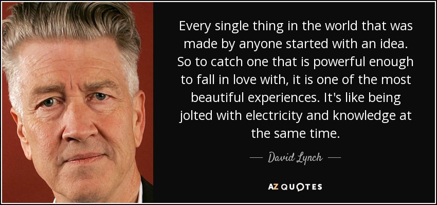 Every single thing in the world that was made by anyone started with an idea. So to catch one that is powerful enough to fall in love with, it is one of the most beautiful experiences. It's like being jolted with electricity and knowledge at the same time. - David Lynch