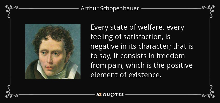 Every state of welfare, every feeling of satisfaction, is negative in its character; that is to say, it consists in freedom from pain, which is the positive element of existence. - Arthur Schopenhauer