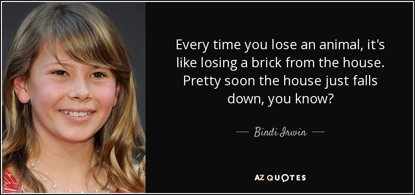 Every time you lose an animal, it's like losing a brick from the house. Pretty soon the house just falls down, you know? - Bindi Irwin