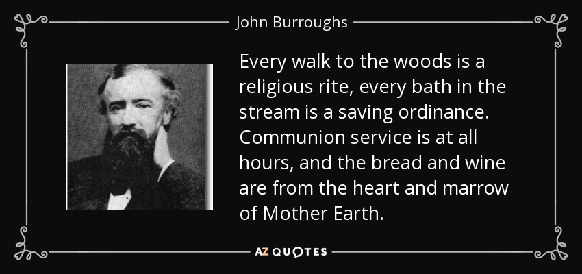 Every walk to the woods is a religious rite, every bath in the stream is a saving ordinance. Communion service is at all hours, and the bread and wine are from the heart and marrow of Mother Earth. - John Burroughs