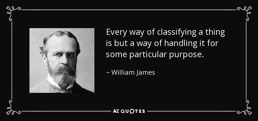 Every way of classifying a thing is but a way of handling it for some particular purpose. - William James