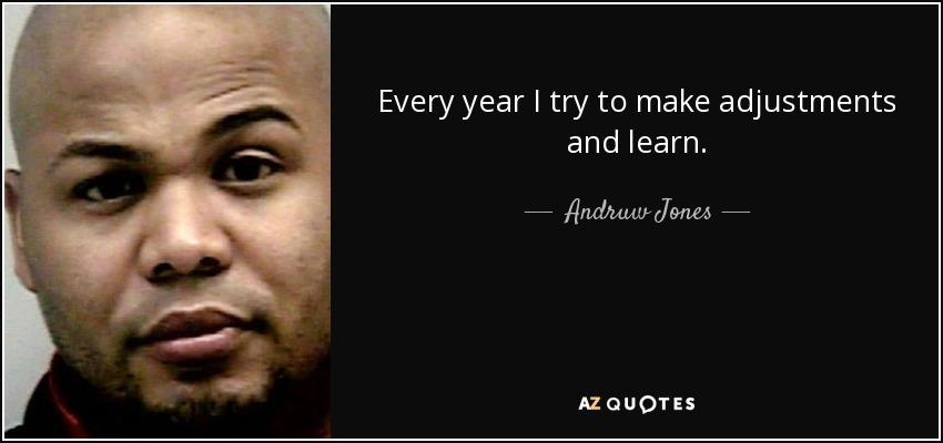 Every year I try to make adjustments and learn. - Andruw Jones