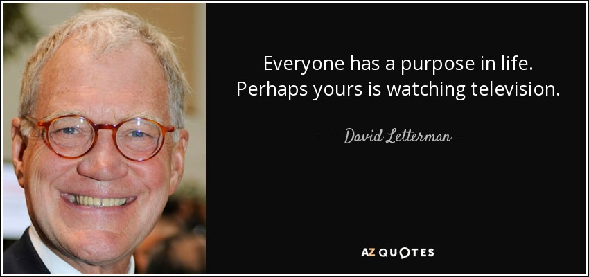 Everyone has a purpose in life. Perhaps yours is watching television. - David Letterman
