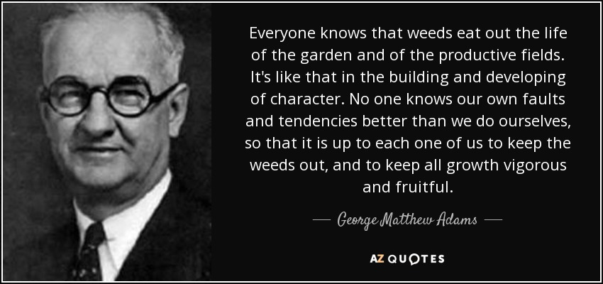 Everyone knows that weeds eat out the life of the garden and of the productive fields. It's like that in the building and developing of character. No one knows our own faults and tendencies better than we do ourselves, so that it is up to each one of us to keep the weeds out, and to keep all growth vigorous and fruitful. - George Matthew Adams