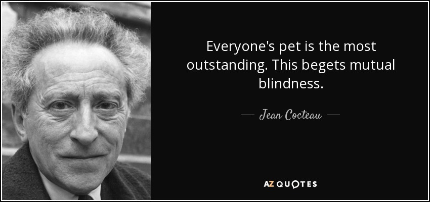 Everyone's pet is the most outstanding. This begets mutual blindness. - Jean Cocteau