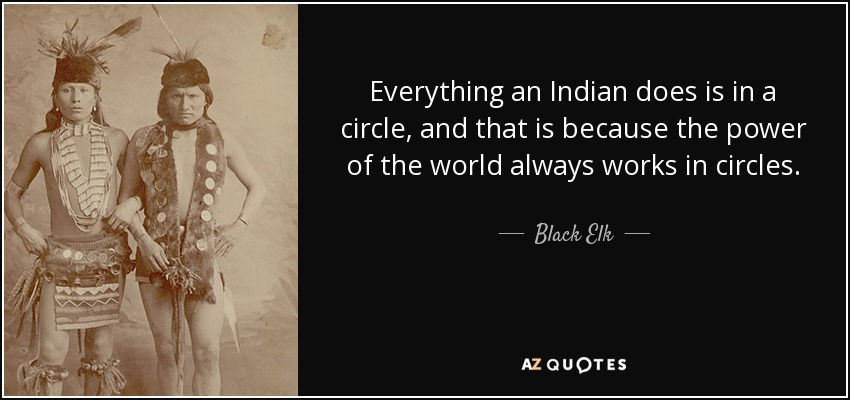 Everything an Indian does is in a circle, and that is because the power of the world always works in circles. - Black Elk