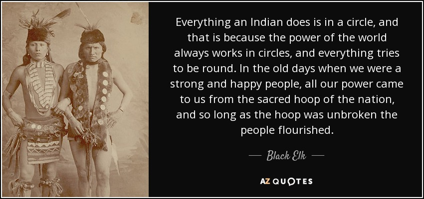 Everything an Indian does is in a circle, and that is because the power of the world always works in circles, and everything tries to be round. In the old days when we were a strong and happy people, all our power came to us from the sacred hoop of the nation, and so long as the hoop was unbroken the people flourished. - Black Elk