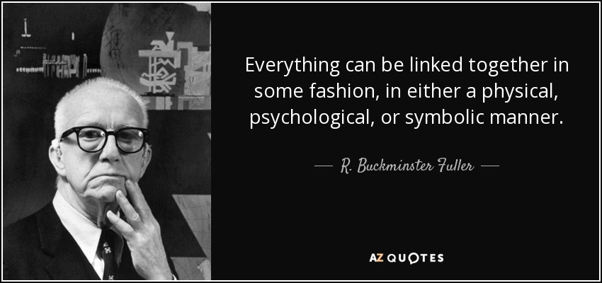 Everything can be linked together in some fashion, in either a physical, psychological, or symbolic manner. - R. Buckminster Fuller