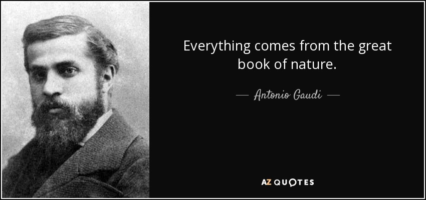 Everything comes from the great book of nature. - Antonio Gaudi