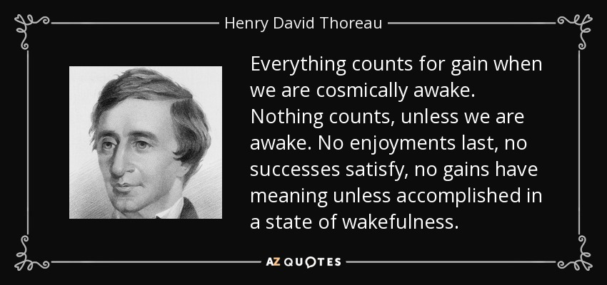 Everything counts for gain when we are cosmically awake. Nothing counts, unless we are awake. No enjoyments last, no successes satisfy, no gains have meaning unless accomplished in a state of wakefulness. - Henry David Thoreau