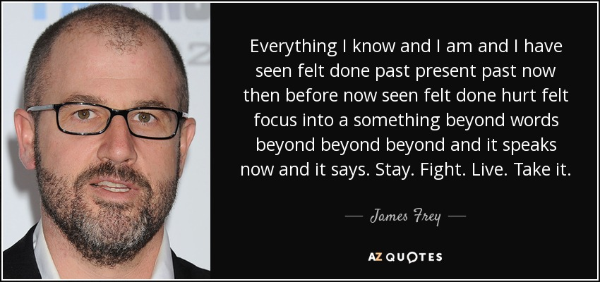 Everything I know and I am and I have seen felt done past present past now then before now seen felt done hurt felt focus into a something beyond words beyond beyond beyond and it speaks now and it says. Stay. Fight. Live. Take it. - James Frey