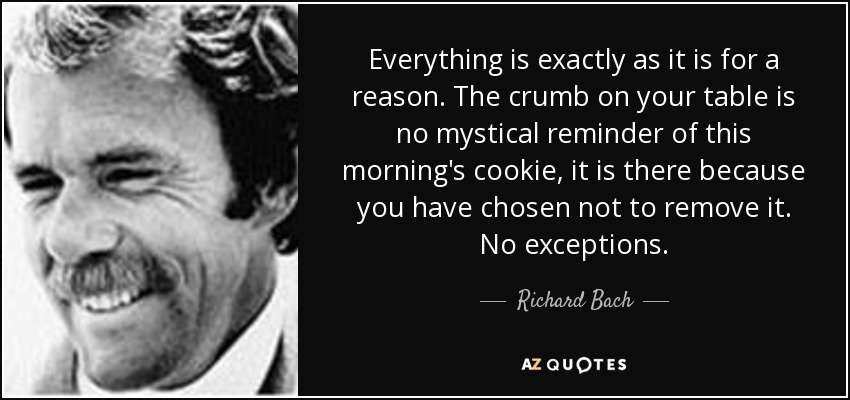 Everything is exactly as it is for a reason. The crumb on your table is no mystical reminder of this morning's cookie, it is there because you have chosen not to remove it. No exceptions. - Richard Bach