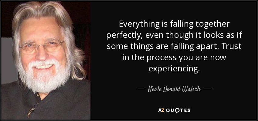 Everything is falling together perfectly, even though it looks as if some things are falling apart. Trust in the process you are now experiencing. - Neale Donald Walsch