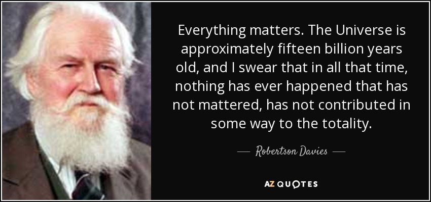Everything matters. The Universe is approximately fifteen billion years old, and I swear that in all that time, nothing has ever happened that has not mattered, has not contributed in some way to the totality. - Robertson Davies