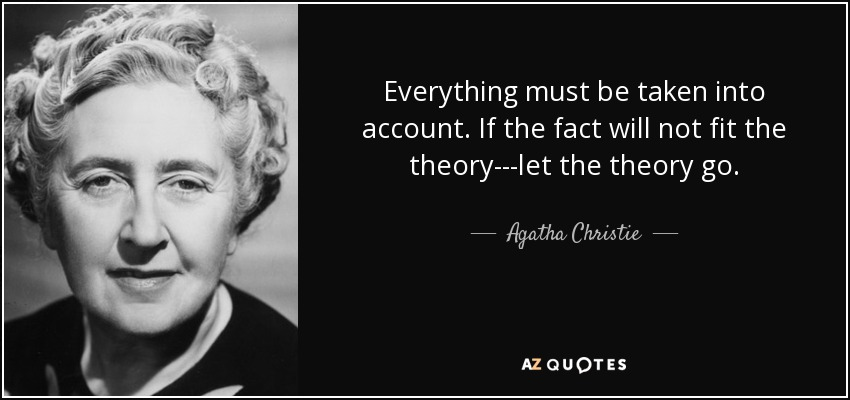 Everything must be taken into account. If the fact will not fit the theory---let the theory go. - Agatha Christie