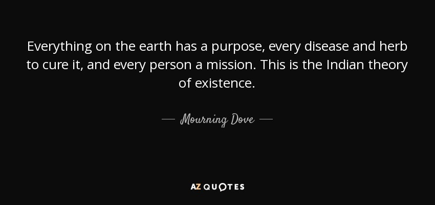 Everything on the earth has a purpose, every disease and herb to cure it, and every person a mission. This is the Indian theory of existence. - Mourning Dove