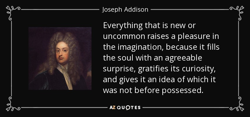 Everything that is new or uncommon raises a pleasure in the imagination, because it fills the soul with an agreeable surprise, gratifies its curiosity, and gives it an idea of which it was not before possessed. - Joseph Addison