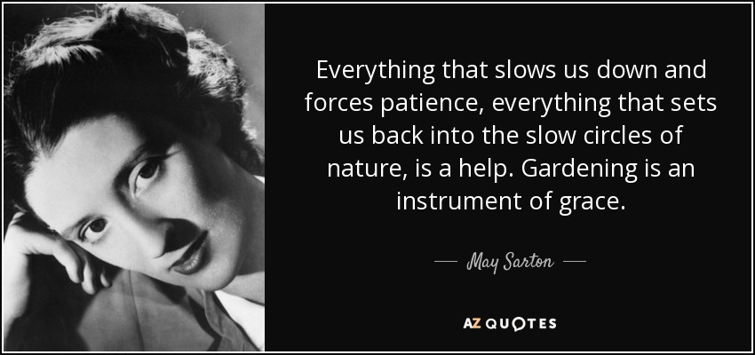 Everything that slows us down and forces patience, everything that sets us back into the slow circles of nature, is a help. Gardening is an instrument of grace. - May Sarton