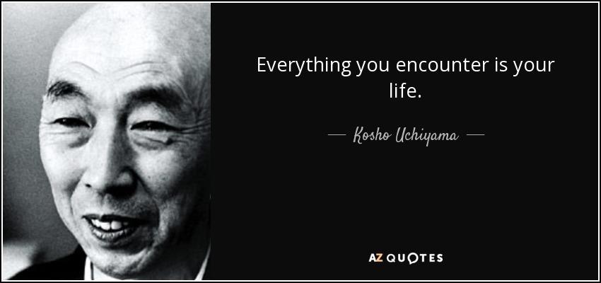 Everything you encounter is your life. - Kosho Uchiyama
