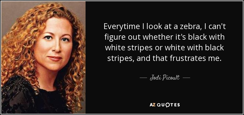 Everytime I look at a zebra, I can't figure out whether it's black with white stripes or white with black stripes, and that frustrates me. - Jodi Picoult