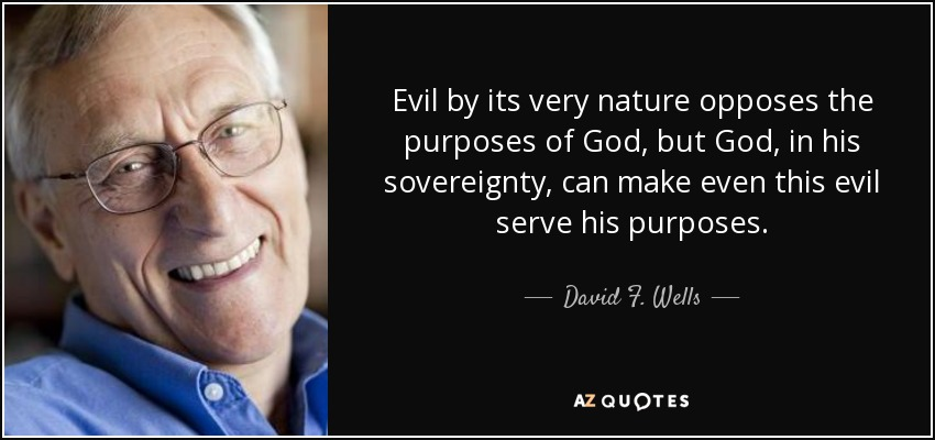 Evil by its very nature opposes the purposes of God, but God, in his sovereignty, can make even this evil serve his purposes. - David F. Wells