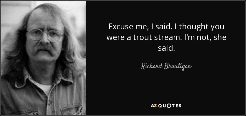 Excuse me, I said. I thought you were a trout stream. I'm not, she said. - Richard Brautigan