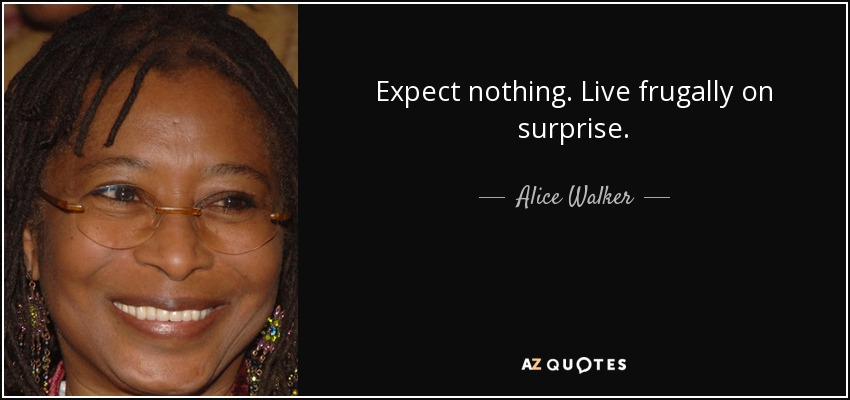 Expect nothing. Live frugally on surprise. - Alice Walker